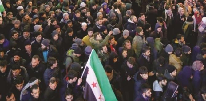 Halep için onbinler sokaklara indi